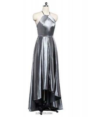 A Line Halter Asymmetrical Stretch Satin Australia Formal Evening Dress with Draping