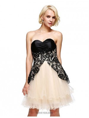A Line Strapless Short Mini Lace Satin Tulle Charmeuse Australia Cocktail Party Homecoming Prom Dress with Lace