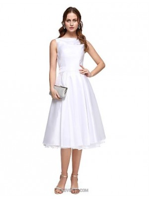 A Line Bateau Neck Tea Length Taffeta Prom Dress with Beading