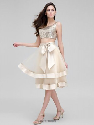 A Line Scoop Neck Knee Length Organza Sequined Australia Cocktail Party Prom Dress with Bow Sequins