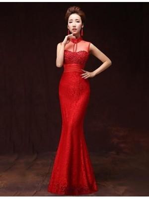 A Line High Neck Floor Length Satin Australia Formal Evening Dress with Pockets