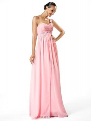 Sheath Column Sexy One Shoulder Sweetheart Floor Length Chiffon Prom Dress with Beading