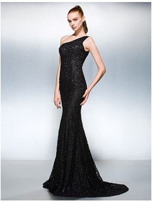 Sheath Column Sexy One Shoulder Court Train Lace Australia Formal Evening Dress with Beading