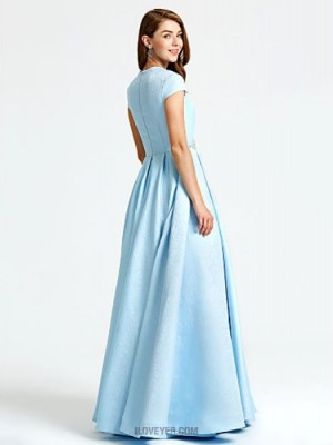 A Line Queen Anne Floor Length Satin Australia Formal Evening Dress with Beading Pockets Pleats