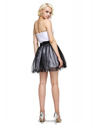 A Line Strapless Short Mini Tulle Australia Cocktail Party Prom Dress with Flower Sash Ribbon Side Draping