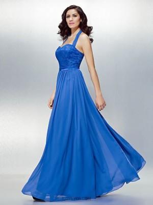 A Line Halter Floor Length Chiffon Lace Australia Formal Evening Dress with Lace Sash Ribbon
