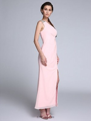 Sheath Column Sexy One Shoulder Ankle Length Chiffon Australia Formal Evening Dress with Crystal Detailing