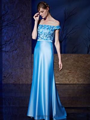Sheath Column Bateau Neck Sweep Brush Train Lace Prom Dress with Sequins