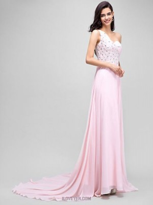 A Line Sexy One Shoulder Court Train Chiffon Australia Formal Evening Dress with Beading