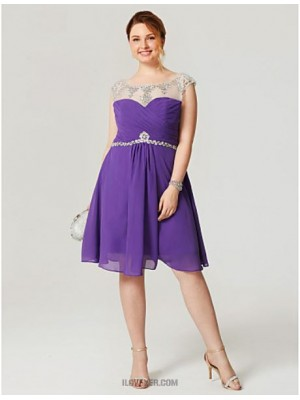 A Line Scoop Neck Knee Length Chiffon Australia Cocktail Party Homecoming Dress with Crystal Detailing Criss Cross Pleats
