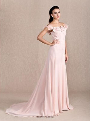 A Line Princess Off the shoulder Court Train Chiffon Australia Formal Evening Dress with Beading Bow Flower