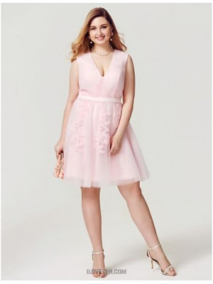 Princess V neck Knee Length Tulle Australia Cocktail Party Homecoming Dress with Appliques Sash Ribbon Side Draping