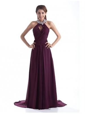 A Line Halter Sweep Brush Train Chiffon Australia Formal Evening Dress with Beading Crystal Detailing Pleats