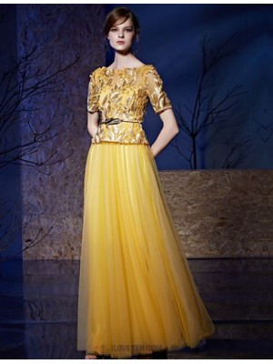 A Line Bateau Neck Floor Length Tulle Sequined Prom Dress with Beading