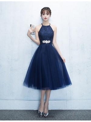 A Line Halter Tea Length Tulle Australia Cocktail Party Dress with Crystal Detailing
