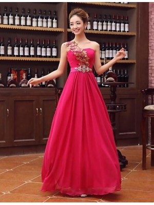 A Line Sexy One Shoulder Floor Length Satin Evening Dress with Crystal