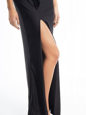Sheath Column V neck Ankle Length Chiffon Velvet Jersey Prom Australia Formal Evening Dress with Side Draping