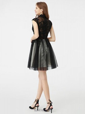 A Line High Neck Short Mini Tulle Australia Cocktail Party Dress with Beading Appliques