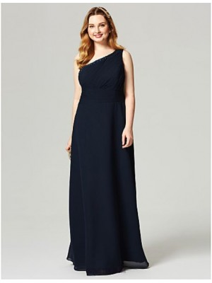 Sheath Column Sexy One Shoulder Floor Length Chiffon Australia Formal Evening Dress with Beading Crystal Detailing Side Draping Ruching