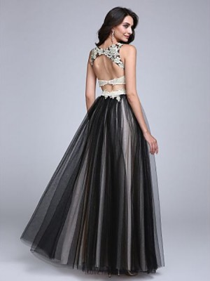A Line Bateau Neck Floor Length Lace Tulle Prom Australia Formal Evening Dress with Beading Appliques