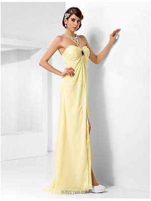 A Line Princess Sweetheart Floor Length Chiffon Prom Dress with Beading
