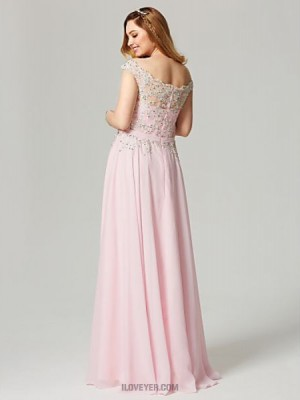 A Line Off the shoulder Floor Length Chiffon Australia Formal Evening Dress with Beading Appliques Sash Ribbon Pleats