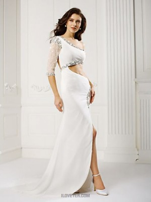 A Line Sexy One Shoulder Sweep Brush Train Chiffon Prom Australia Formal Evening Dress with Beading Crystal Detailing Split Front