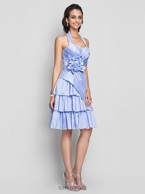A Line Halter Sweetheart Knee Length Taffeta Australia Cocktail Party Homecoming Prom Sweet 16 Dress with Flower Criss Cross