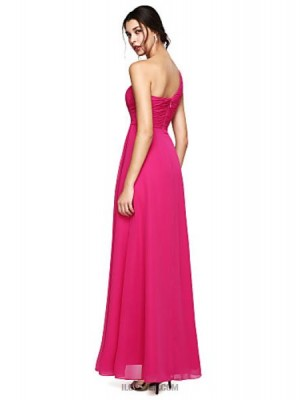A Line Sexy One Shoulder Floor Length Chiffon Australia Formal Evening Dress with Beading Side Draping Ruching