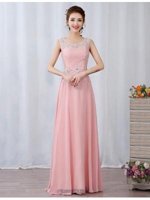 A Line Jewel Neck Floor Length Chiffon Prom Dress with Beading