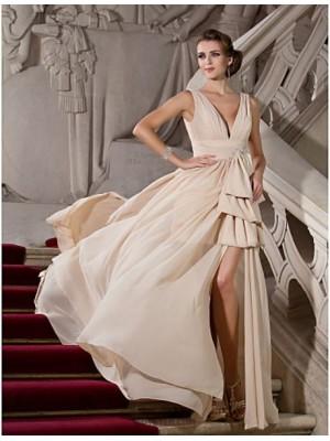 A Line Princess V neck Sweep Brush Train Chiffon Evening Dress with Beading