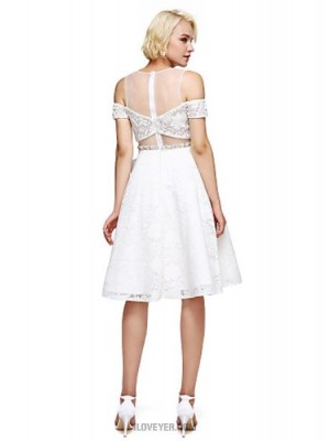 A Line Jewel Neck Knee Length Lace Australia Cocktail Party Homecoming Prom Dress with Beading Crystal Detailing
