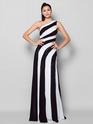 Sheath Column Sexy One Shoulder Floor Length Chiffon Australia Formal Evening Dress with Side Draping
