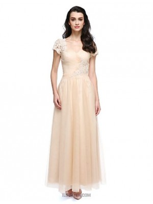 A Line Jewel Neck Ankle Length Lace Tulle Prom Dress with Lace