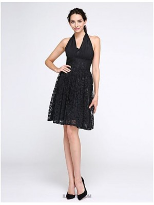 A Line Halter Knee Length Chiffon Lace Australia Cocktail Party Homecoming Prom Dress with Lace