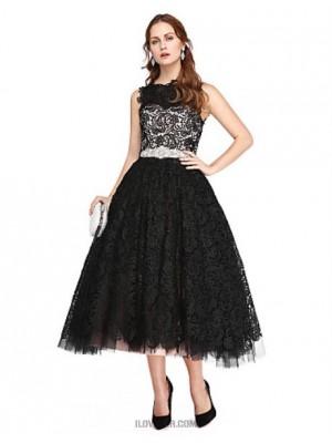 A Line Bateau Neck Tea Length Lace Tulle Prom Australia Formal Evening Dress with Beading Lace Pleats