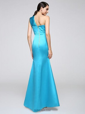 Mermaid Trumpet Sexy One Shoulder Floor Length Stretch Satin Australia Formal Evening Dress with Side Draping