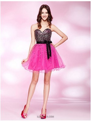 A Line Princess Strapless Sweetheart Short Mini Tulle Stretch Satin Sequined Prom Dress with Beading