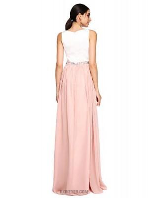 A Line Jewel Neck Floor Length Chiffon Australia Formal Evening Dress with Beading Sash Ribbon Split Front