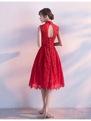 A Line High Neck Knee Length Lace Australia Cocktail Party Dress