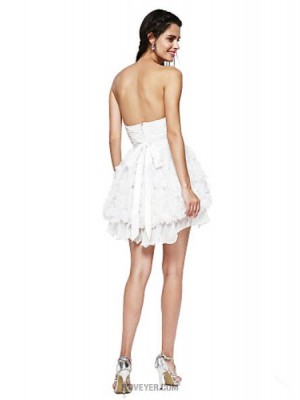 A Line Sweetheart Short Mini Chiffon Australia Cocktail Party Homecoming Prom Dress with Brooch Ruching