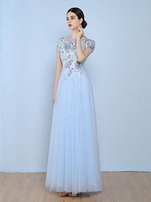 A Line Bateau Neck Floor Length Tulle Australia Formal Evening Dress with Appliques