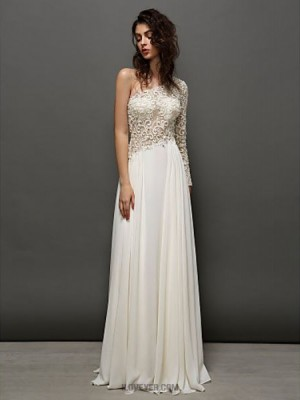 A Line Sexy One Shoulder Floor Length Lace Georgette Prom Australia Formal Evening Dress with Lace