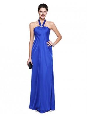 A Line Halter Floor Length Chiffon Prom Australia Formal Evening Dress with Crystal Detailing