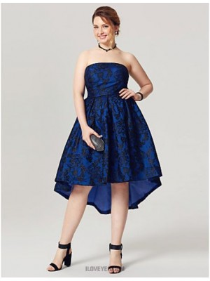 A Line Strapless Asymmetrical Lace Taffeta Australia Cocktail Party Homecoming Dress with Pleats