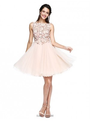 A Line Bateau Neck Knee Length Tulle Australia Cocktail Party Homecoming Prom Dress with Appliques Bow Flower Sash Ribbon