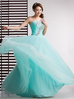 Ball Gown Sexy One Shoulder Floor Length Tulle Australia Formal Evening Dress with Crystal Detailing