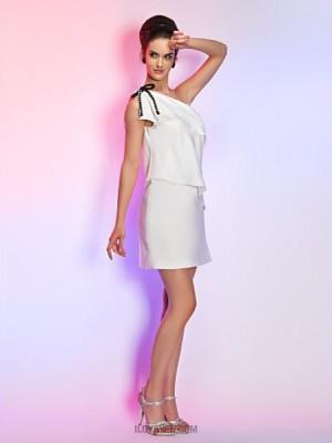 Sheath Column Sexy One Shoulder Short Mini Stretch Satin Graduation Holiday Dress with Pearl
