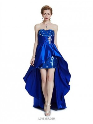Sheath Column Strapless Asymmetrical Satin Australia Cocktail Party Prom Dress with Beading Crystal Detailing Draping Sequins