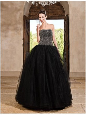 A Line Ball Gown Princess Strapless Floor Length Satin Tulle Prom Dress with Beading